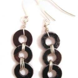 Earrings, Metal Washers, Recycled Jewelry, Stained Brushed Washers, Industrial Jewelry, Dangle Earrings